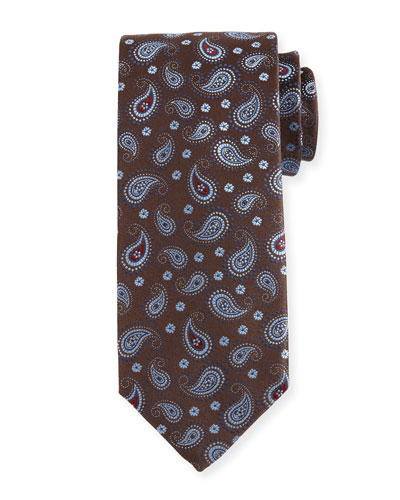 Woven Pine Paisley Silk Tie, Brown