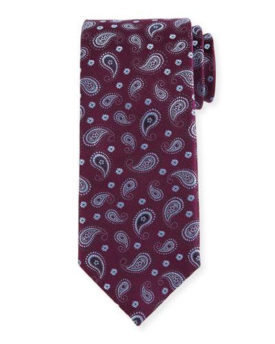 Woven Pine Paisley Silk Tie, Burgundy