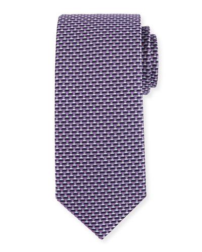 Neat Micro-Geometric Silk Tie, Purple/Gray