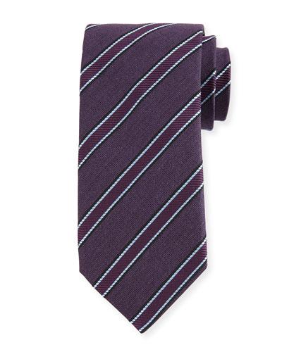 Woven Diagonal-Stripe Silk Tie, Purple