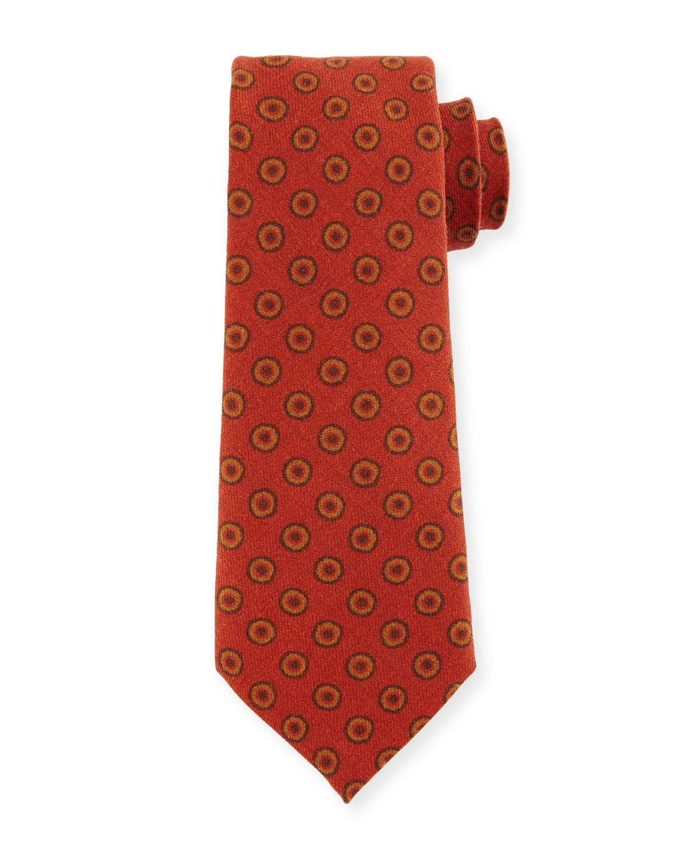 Circle Medallion Wool Tie, Red