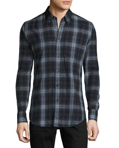 Brushed Check Shirt, Gray