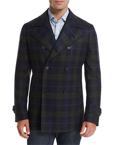 Plaid Wool-Cashmere Pea Coat, Navy/Green