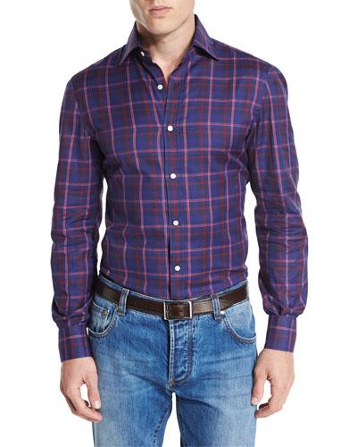 Madras Check Sport Shirt, Blue/Red