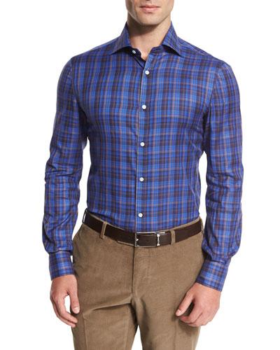 Madras Check Sport Shirt, Blue