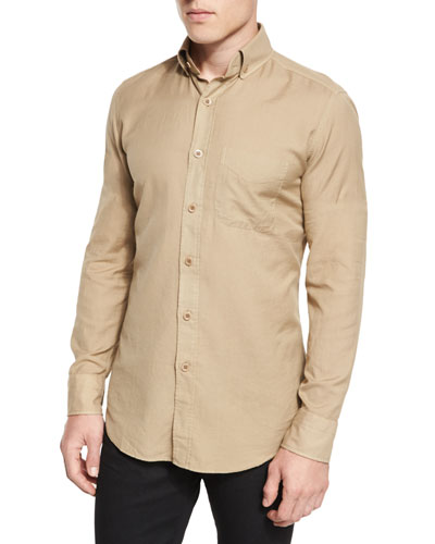 Tailored-Fit Cotton-Cashmere Shirt, Khaki
