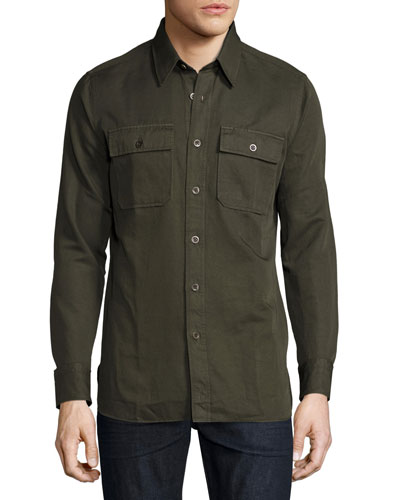 Cotton-Blend Twill Military Shirt