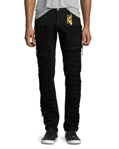 Distressed Slim-Fit Over-Dyed Denim Jeans, Black