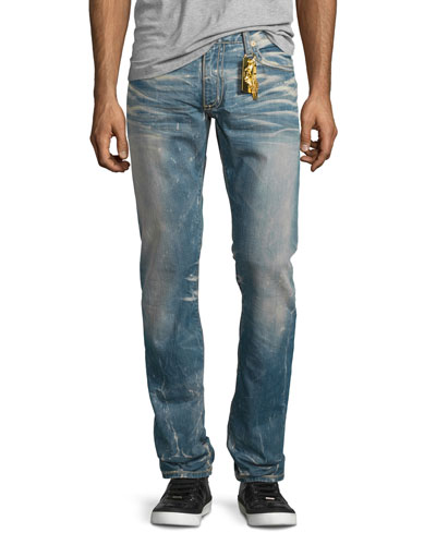 Faded Straight-Leg Denim Jeans, Light Blue