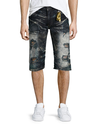 Distressed Slim-Fit Faded Denim Shorts, Black