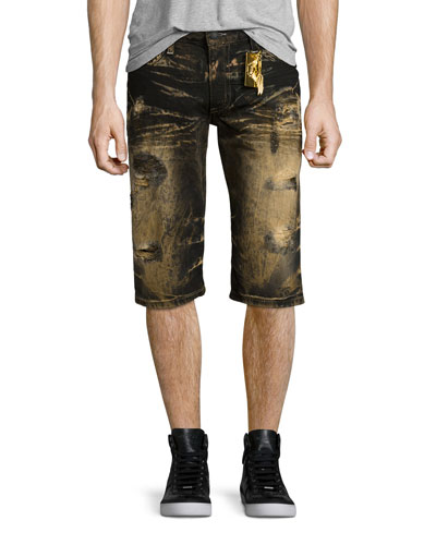 Bleach-Dyed Distressed Denim Shorts, Black