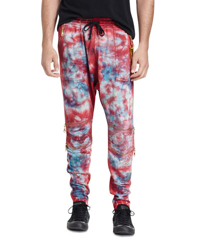 Tie-Dye Moto Jogger Pants, Red/Blue