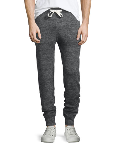Double-Faced Melange Lounge Trousers, Charcoal