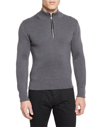 Merino Wool Fine-Rib Quarter-Zip Sweater, Gray