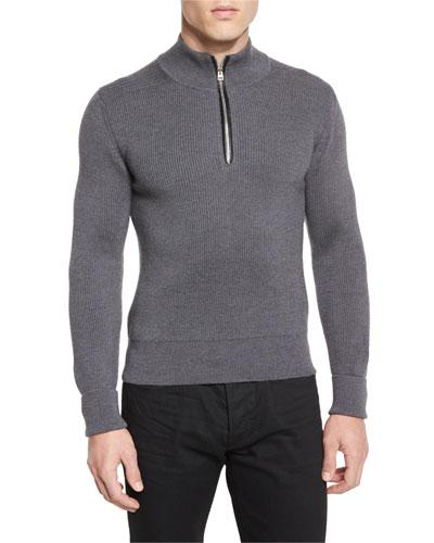 Merino Wool Fine-Rib Quarter-Zip Sweater, Gray