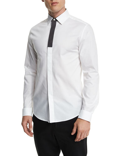 Contrast-Placket Long-Sleeve Sport Shirt