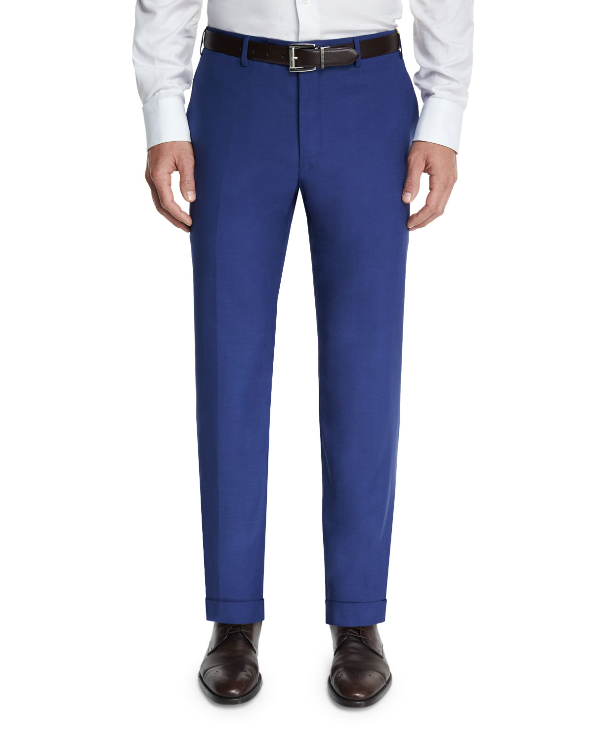 Sienna Contemporary Flat-Front Trousers, Navy