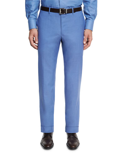 Sienna Contemporary Flat-Front Trousers, Blue
