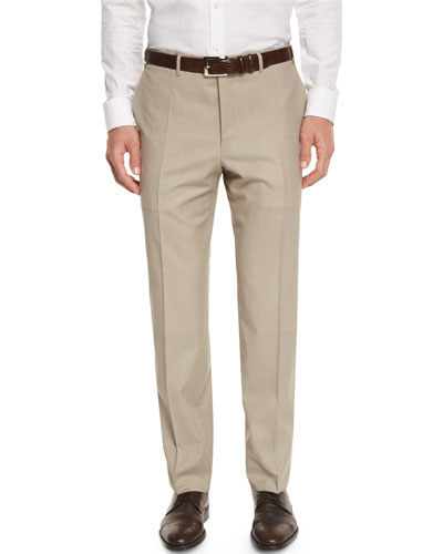 Sienna Contemporary Flat-Front Trousers, Stone