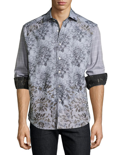 Limited Edition Theories Floral-Print Sport Shirt, Gray