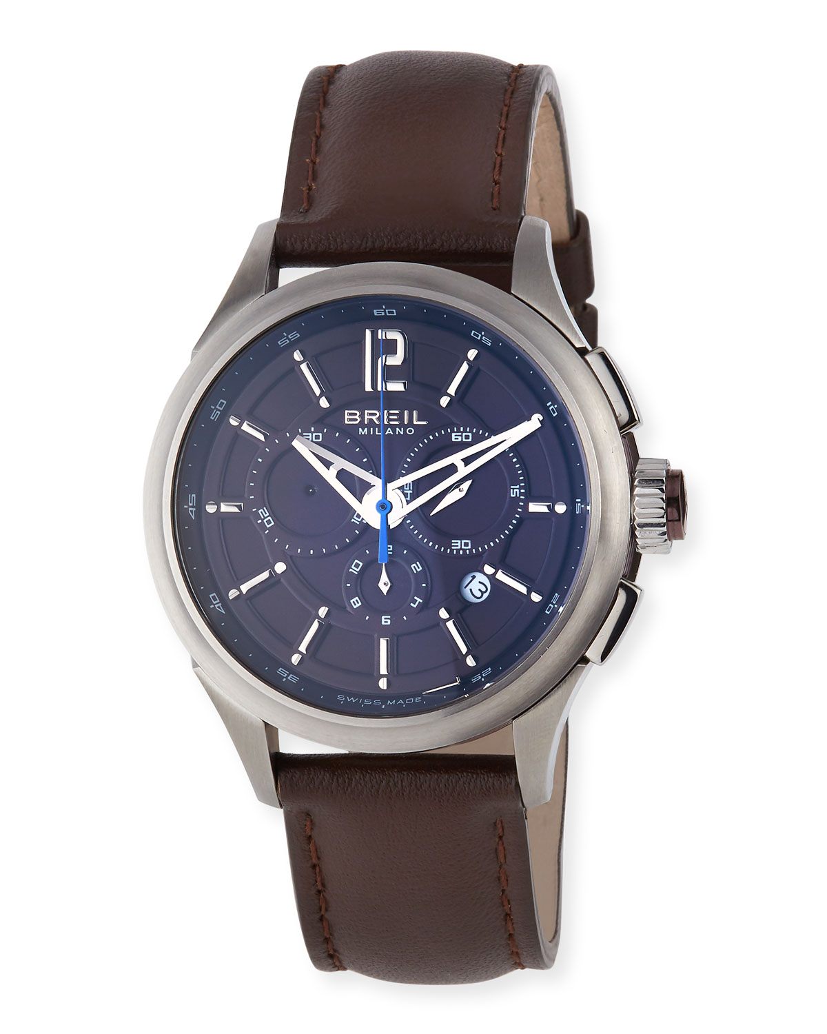 Chronograph Watch, Dark Brown Leather