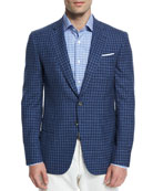 Gregory Tonal Check Two-Button Sport Coat, Blue