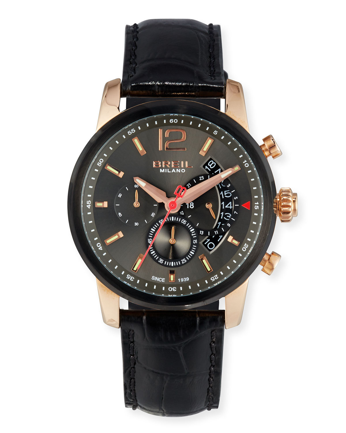 Miglia Chronograph Watch with Leather Strap