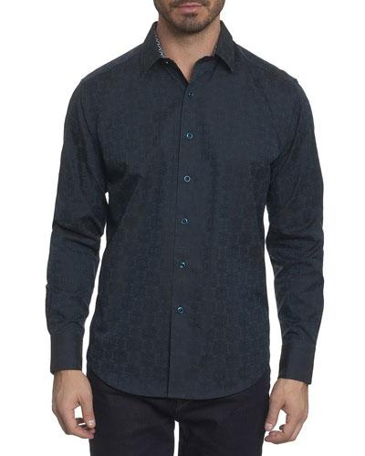 Cullen Tonal-Print Woven Sport Shirt, Aqua