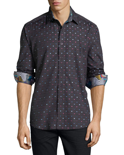 Orion Box-Print Sport Shirt, Charcoal