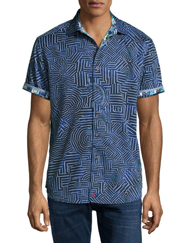 Colonel Geo-Pattern Short-Sleeve Sport Shirt, Blue