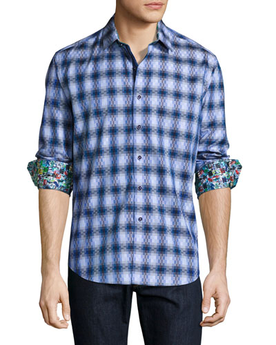 Aeronautics Geo-Print Sport Shirt, Blue