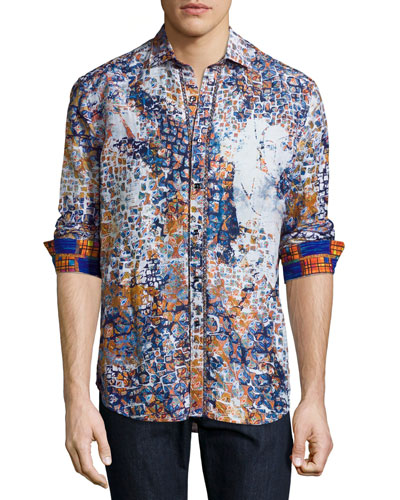 Limited Edition Tile-Print Sport Shirt, Blue
