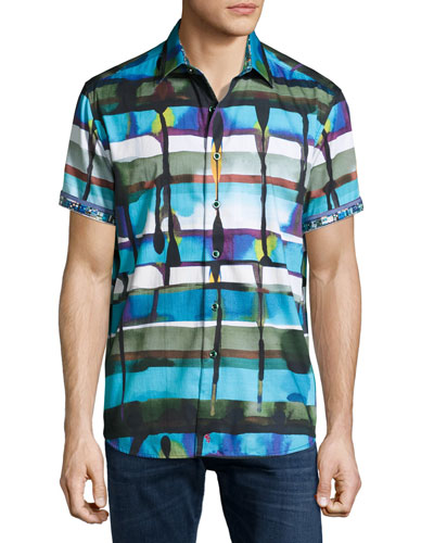 Gravity Abstract-Print Short-Sleeve Sport Shirt, Blue