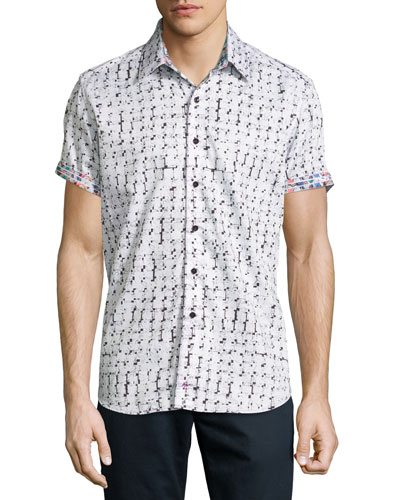 Adama Printed Short-Sleeve Sport Shirt, White