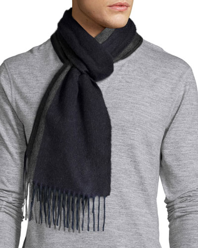Reversible Arran Cashmere Scarf w/Fringe, Navy/Dark Gray