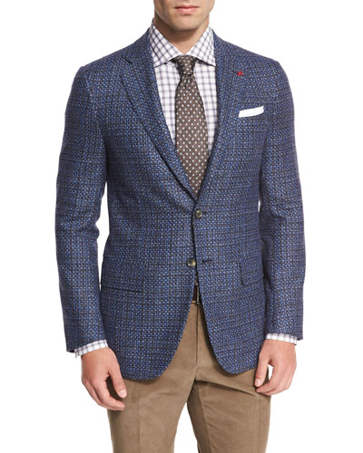 Melange Two-Button Sport Coat, Blue/Charcoal