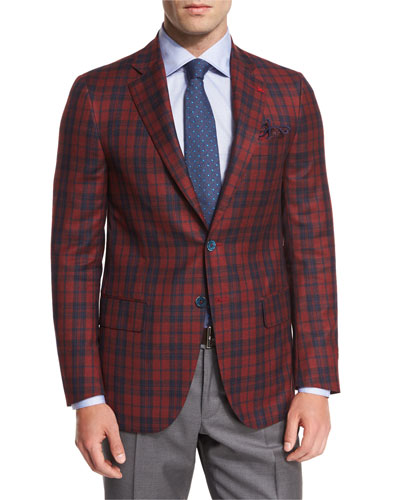 Tartan Plaid Super 140s Two-Button Sport Coat, Red/Navy