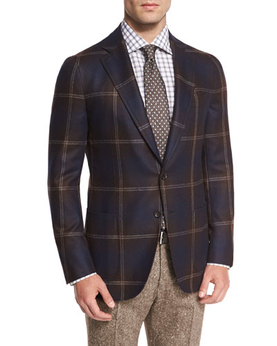 Exploded Windowpane Two-Button Sport Coat, Brown