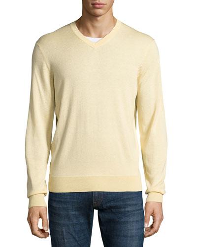 Cashmere-Silk V-Neck Sweater, Lemon