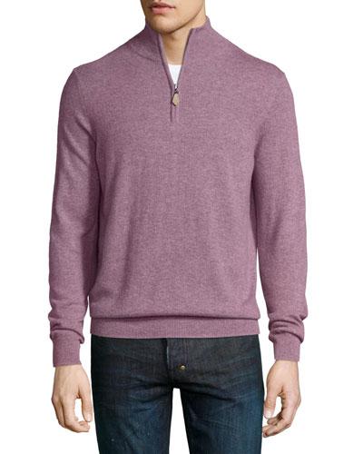 Cashmere Half-Zip Sweater, Rose Melange
