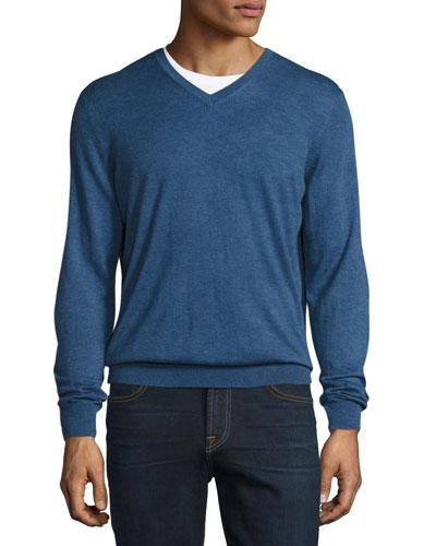Cashmere-Silk V-Neck Sweater, Sapphire Blue