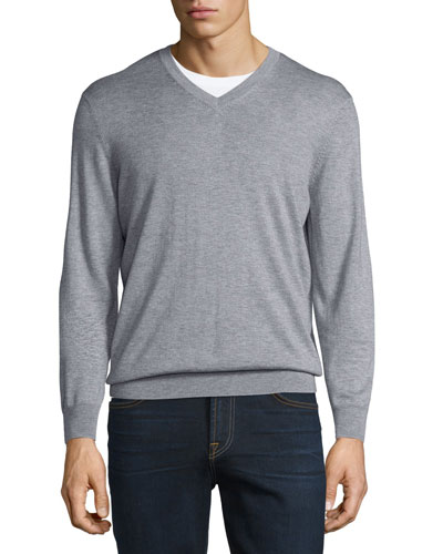 Cashmere-Silk V-Neck Sweater, Earl Gray