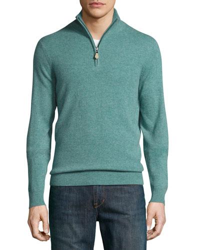 Cashmere Half-Zip Sweater, Meadow Melange