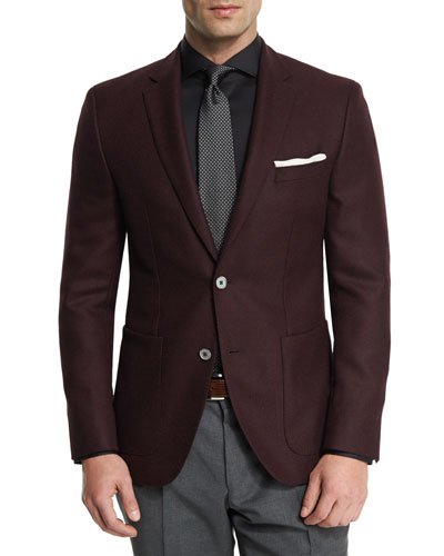 Janson Textured Two-Button Sport Coat, Cranberry