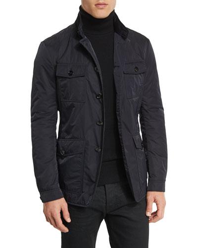 Lightweight Down-Fill 4-Pocket Military Jacket, Navy