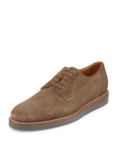 Dylan Suede Lace-Up Oxford, Truffle