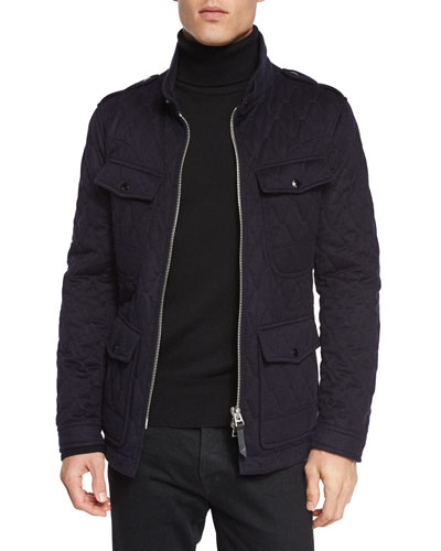 Quilted Safari Zipper Jacket, Navy