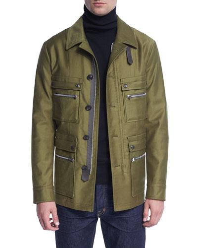 Satin-Cotton Field Jacket, Bright Olive