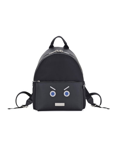 Face Calfskin Leather Backpack, Black/Blue