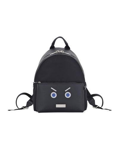 Face Calfskin Leather Backpack, Black/Blue
